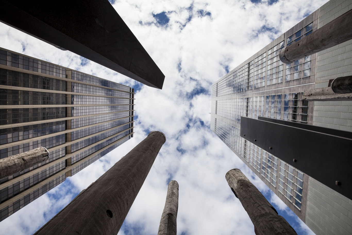 A photo taken looking straight up at the sky. The poles and structures that make up the edge of the trees sculpture appear to stand along side the buildings of the CBD