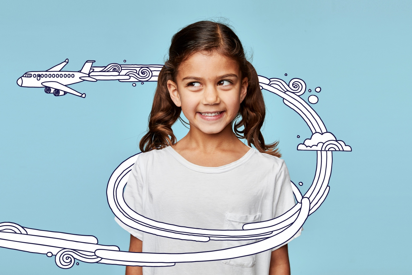 Girl standing looking to her right as if at cartoon aeroplane drawn next to her head.
