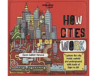 Coloufully illustrated book cover with cityscape and hand-lettered book title.
