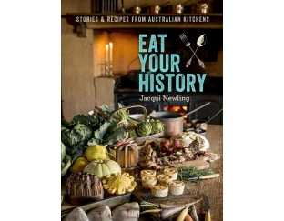 Cover of book with image of table laden with food