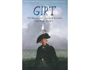 Book cover with image of Arthur Phillip sinking into painted waterscape with seagull on his hat.