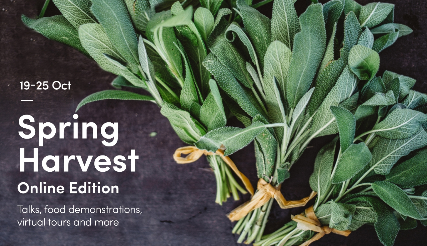 A picture of a bunch of sage with the words Spring Harvest