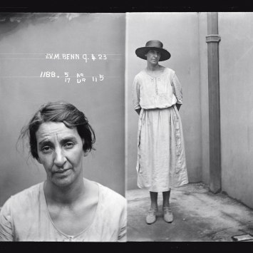 Dual mugshot, woman seated (left), standing with hat on (right).