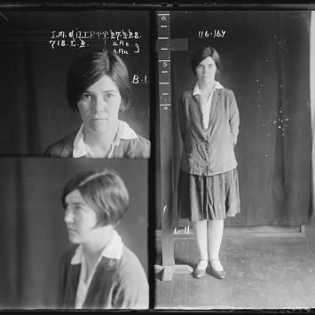 Dual mugshot in black and white; woman seated, left and standing, right.