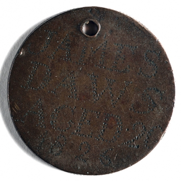Coin inscribed and with hole drilled through top. Inscription reads  'JAMES / DAWS / AGED 20 / 1826'.