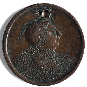 Coin with stippled engraving over King's head and body (in shape of swan?)