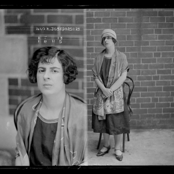Dual mugshot, woman seated (left), standing (right) with hat on.
