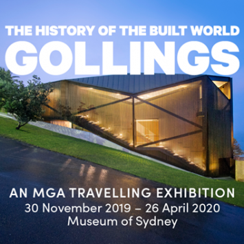 Photo promoting exhibition, with text overlay.