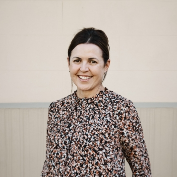 Woman in floral shirt