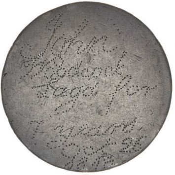 Worn coin with stippled inscription.