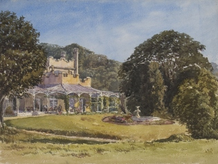 Watercolour painting of front of house and garden viewed from the north-east.