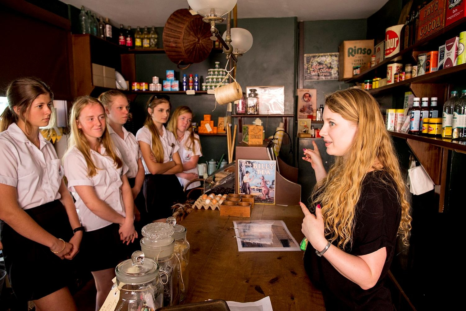 Students inside Susannah Place Museums' recreated corner shop at No.64