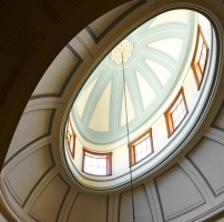 Looking up at part of the blue and white ceiling dome in the saloon at Elizabeth Bay House.