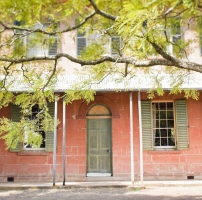 Front door framed by two pairs of narrow columns and two shuttered windows, with tree branch at top foreground.